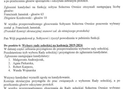Protokół wybory sołtysa i rady sołeckiej w Ownicach strona 2